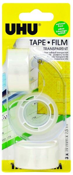 UHU TAPE FILM, transparent, dispenser + refill roll  19mm x 7,5m