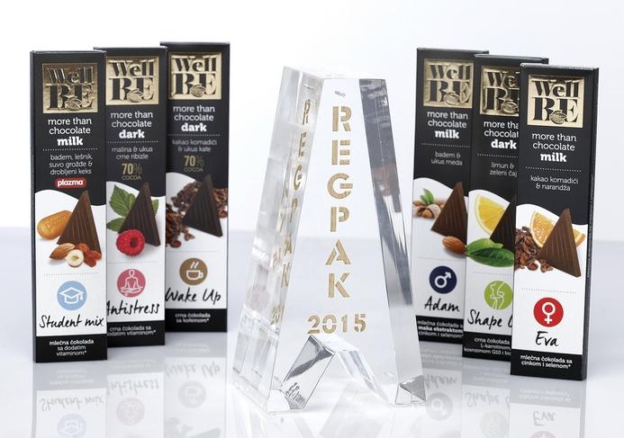 WellBE čokolade dobitnik regionalne nagrade REGPAK za originalnu ambalaž...